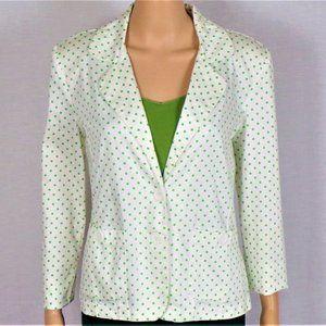 Blazer size 8 white/green polka dots cotton/spandx